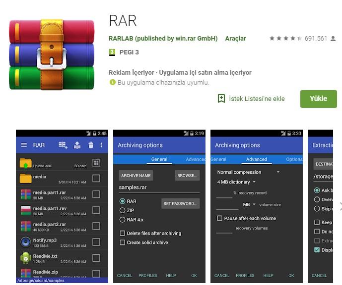 Android için en iyi sıkıştırma (RAR) uygulamaları 1