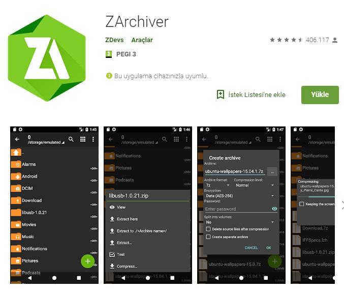 Android için en iyi sıkıştırma (RAR) uygulamaları 3