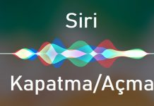 Siri kapatma ve açma
