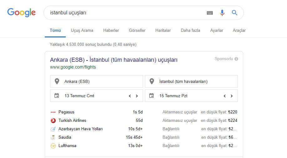 Google uçuş arama