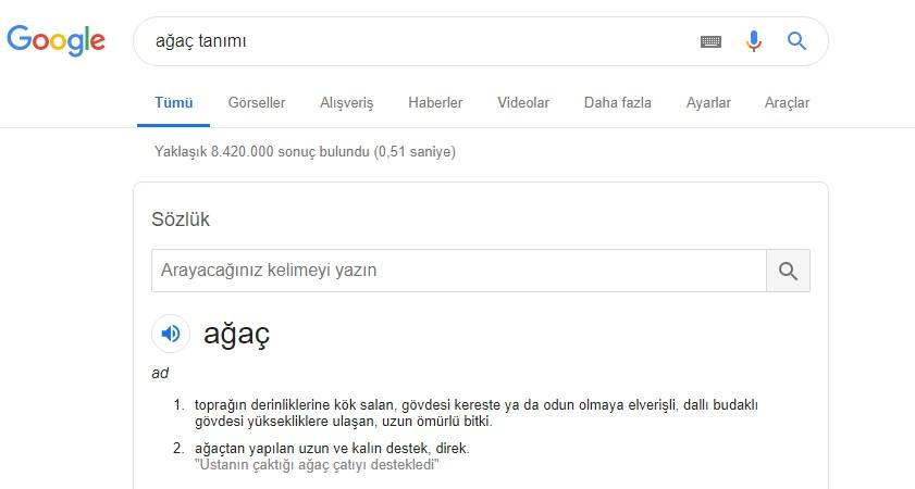 Google tanım öğrenme