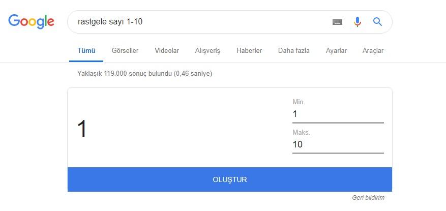 google rastgele sayı