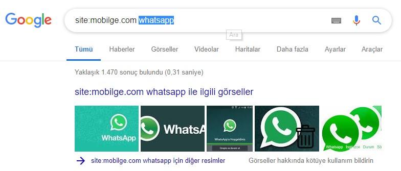 Google Hileleri, İpuçları, Bilinmeyen Özellikler 1