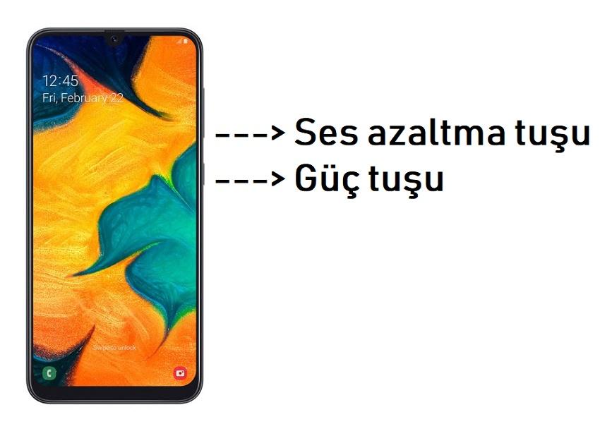 Galaxy A30 ekran görüntüsü alma