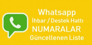Whatsapp İhbar ve Destek Hattı Numaraları Liste