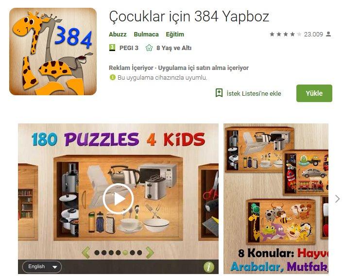 Çocuklar için 384 Yapboz indir 4