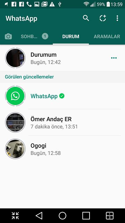 Whatsapp kişilerine durumumu nasıl gönderebilirim? 5