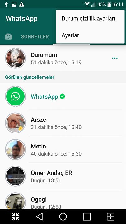 Whatsapp durum gizlilik ayarı nasıl yapılır? 3
