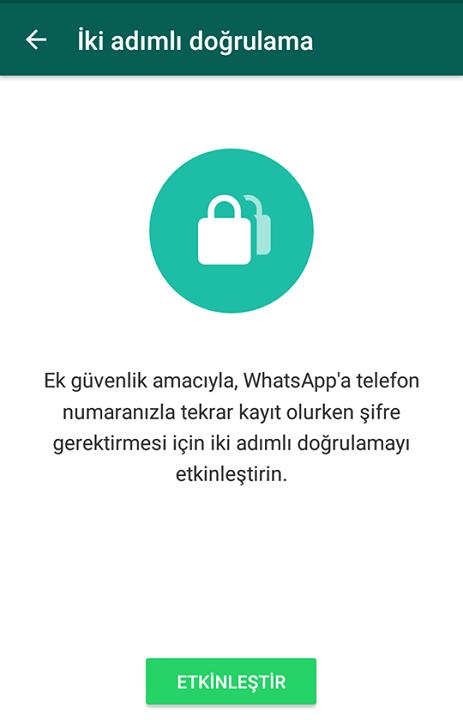 Whatsapp iki adımlı doğrulama nasıl etkinleştirilir? 9